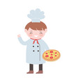 chef boy with pizza food cartoon character vector image vector image