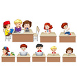 Children working on table vector image vector image