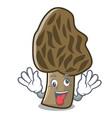 crazy morel mushroom mascot cartoon vector image