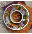 Cup of coffee and Halloween doodles vector image vector image