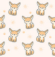 cute fennec fox seamless pattern background vector image vector image