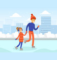 cute girl dressed in warm clothing skating on rink vector image vector image