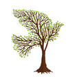 dove bird shape in tree branches for nature help vector image vector image