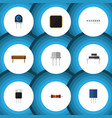 flat icon electronics set of cpu receptacle vector image vector image