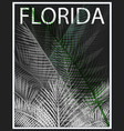 florida typography with floral for t-shirt print vector image