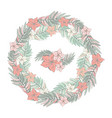 flower round garland tropical leaves and vector image vector image