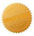 gold french cuisine medal stamp vector image vector image