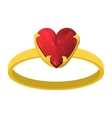 Gold ring with red heart gemstone cartoon icon vector image vector image