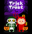halloween trick or treating background kids vector image vector image