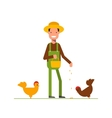 Happy farmer in a straw hat feeds the chickens vector image