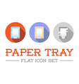 Horizontal Trays for Paper in Flat Icon Design Set vector image