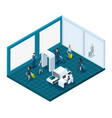 isometric airport passengers with luggage pass in vector image