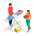 isometric woman ironing clothes using iron on vector image vector image