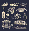 italian cuisine menu hand sketched traditional vector image vector image