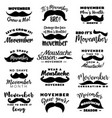 movember monochrome icons with mustaches vector image