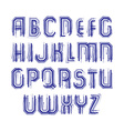 Multicolored handwritten striped uppercase letters vector image