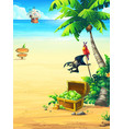 ocean coast with chest parrot palm tree vector image vector image