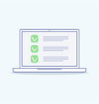 Online survey checklist on the laptop screen vector image