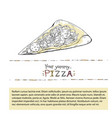 pizza slice outline fast food vector image vector image