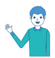 portrait man waving hand smiling character vector image vector image