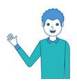 portrait man waving hand smiling character vector image