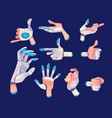 robot or cyborg hand in different gestures vector image vector image
