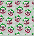 seamless pattern with crazy scary clown faces vector image vector image