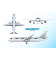 set airplanes front side and from above views vector image