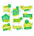 set bio eco organic stickers or logos vector image