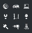 set car service icons vector image