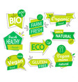 set of bio eco organic stickers or logos vector image vector image