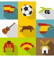Spain icons set flat style vector image vector image