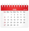 Stylish calendar page for July 2014 vector image vector image