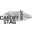 what s to do for a stag night in cardiff text vector image vector image