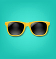 yellow sunglasses with mint background vector image