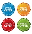 Colorful offer tags with texture set icon vector image