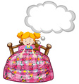 Girl in bed with teddy bear vector image