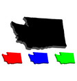 3d map of washington state vector image