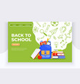back to school banner backpack apple books and vector image