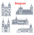 belgium landmarks cathedral churches architecture vector image vector image