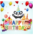Birthday background with happy panda vector image vector image