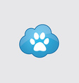 Blue cloud cat footprint vector image vector image