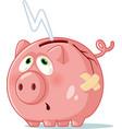 broke piggy bank cartoon vector image vector image