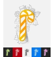candy cane paper sticker with hand drawn elements vector image vector image