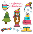 christmas items collection vector image