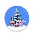 christmas new year round sign with cute cartoon vector image vector image