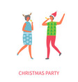christmas party happy people vector image