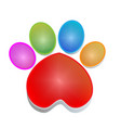 colorful print paw animal icon logo vector image
