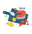 cooking salmon steaksrimp shell cartoon top view vector image