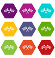 crossed chequered flags icon set color hexahedron vector image vector image